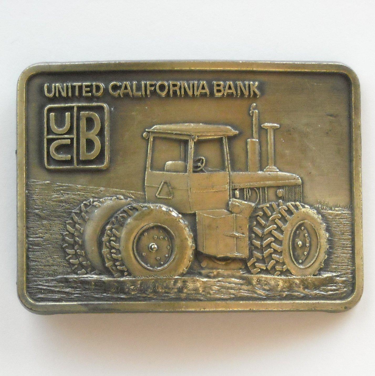 Vintage UCB United California Bank Brass Color Belt Buckle