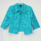 Silkland womens Embroidered Green Black jacket top size L