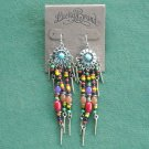 Lucky Brand Silver Gold Tone Long Tribal Beaded Dangle Earrings