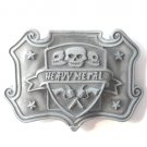 Heavy Metal Skull and Guns pewter metal alloy belt buckle