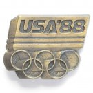USA 1988 Olympic Symbol Brass metal alloy belt buckle