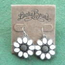 Lucky Brand Silver Tone Dangle White Flower Earrings