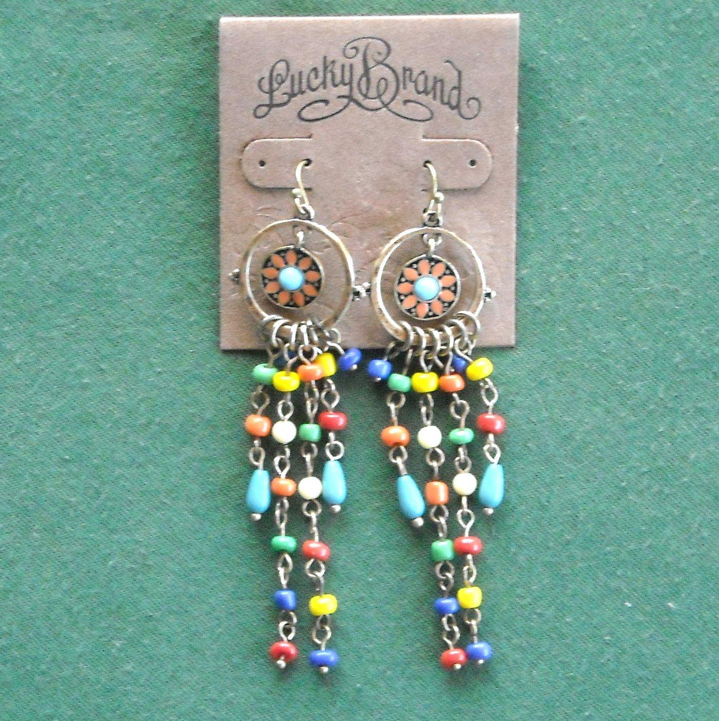 Lucky Brand Brass Tone Retro Dangle Flower Beads Tassel Earrings