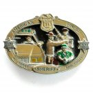 Law Officer Sheriff Americas Finest 3D mens C&J Pewter belt buckle