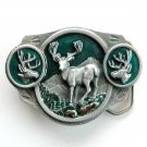 White Tailed Deer 3D Pewter Trophy Belt Buckle