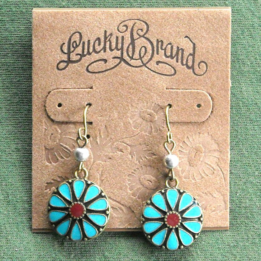 Lucky Brand Gold tone Dangle Turquoise Flower earrings for women