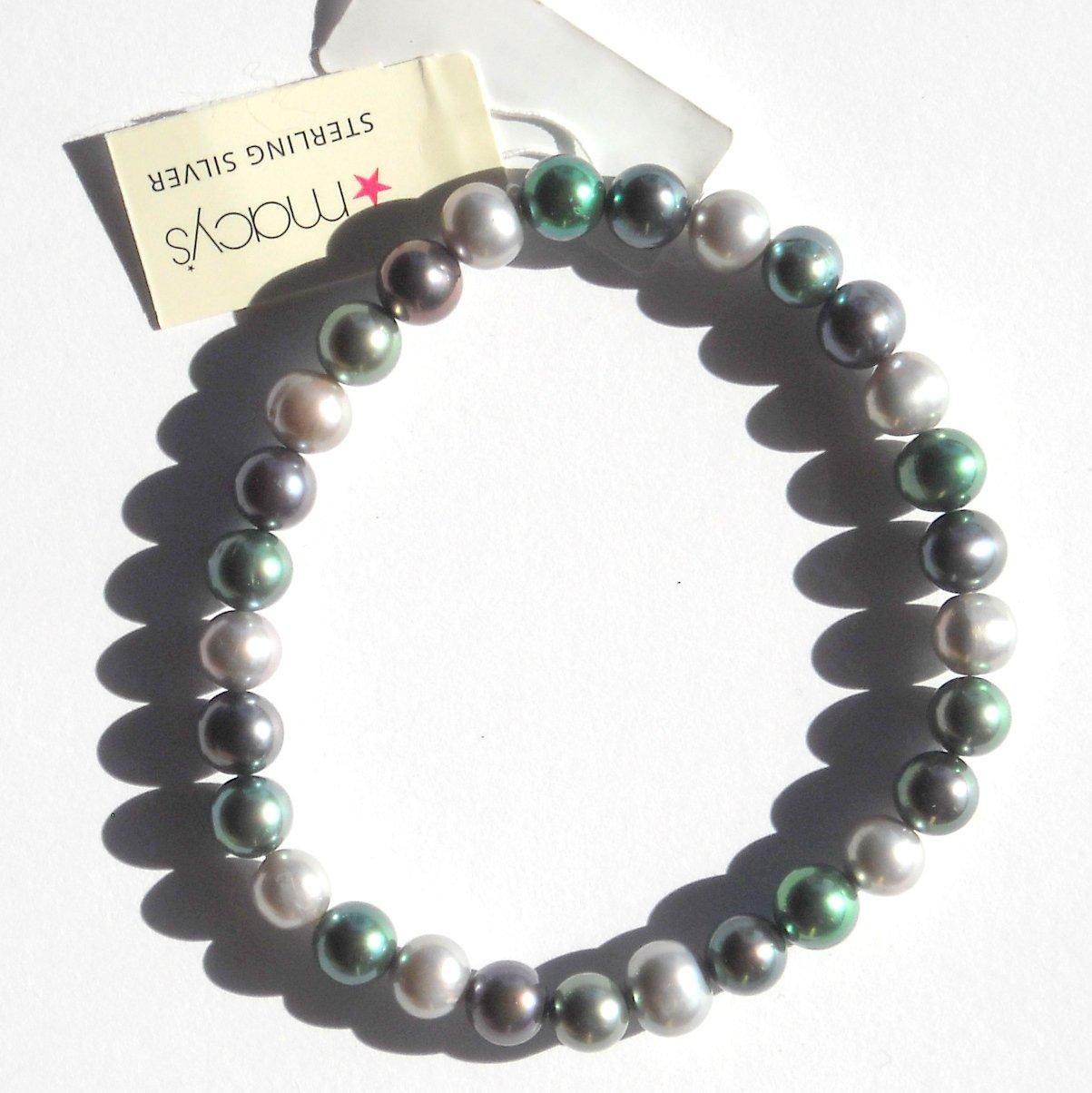 Macys Cultured Round Green Freshwater Pearl Strand Stretch Bracelet NWT