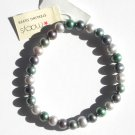 Macys Cultured Round Multi Colored Green Freshwater Pearl Strand Stretch Bracelet NWT