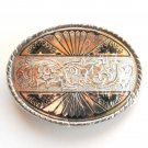 Ornate Vintage Silver Color Belt Buckle