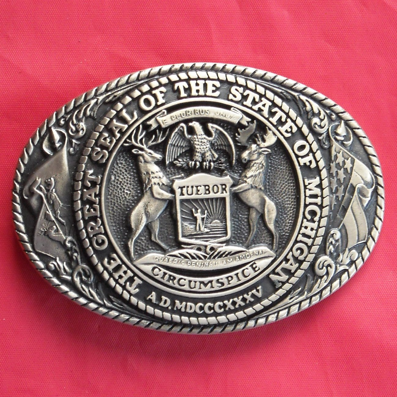 Tony Lama First Edition The Great Seal Of The State Of Michigan Brass belt buckle
