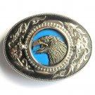 Eagle mens Western Square Dance silver color belt buckle