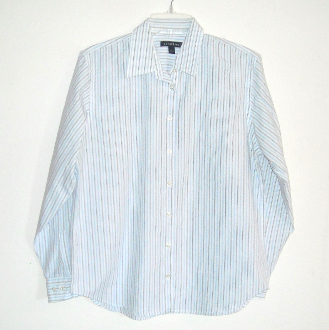 Lands End Misses Womens White Striped Button Front Shirt Size 12