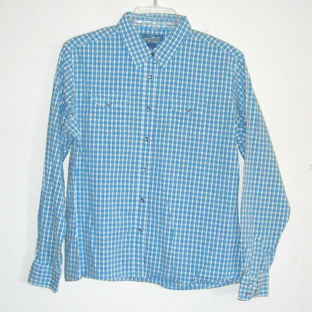 Wrangler Misses Womens Blue Button Front Shirt Size L G