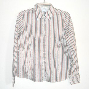 George Stretch Ladies womens striped button front shirt size M 8/10