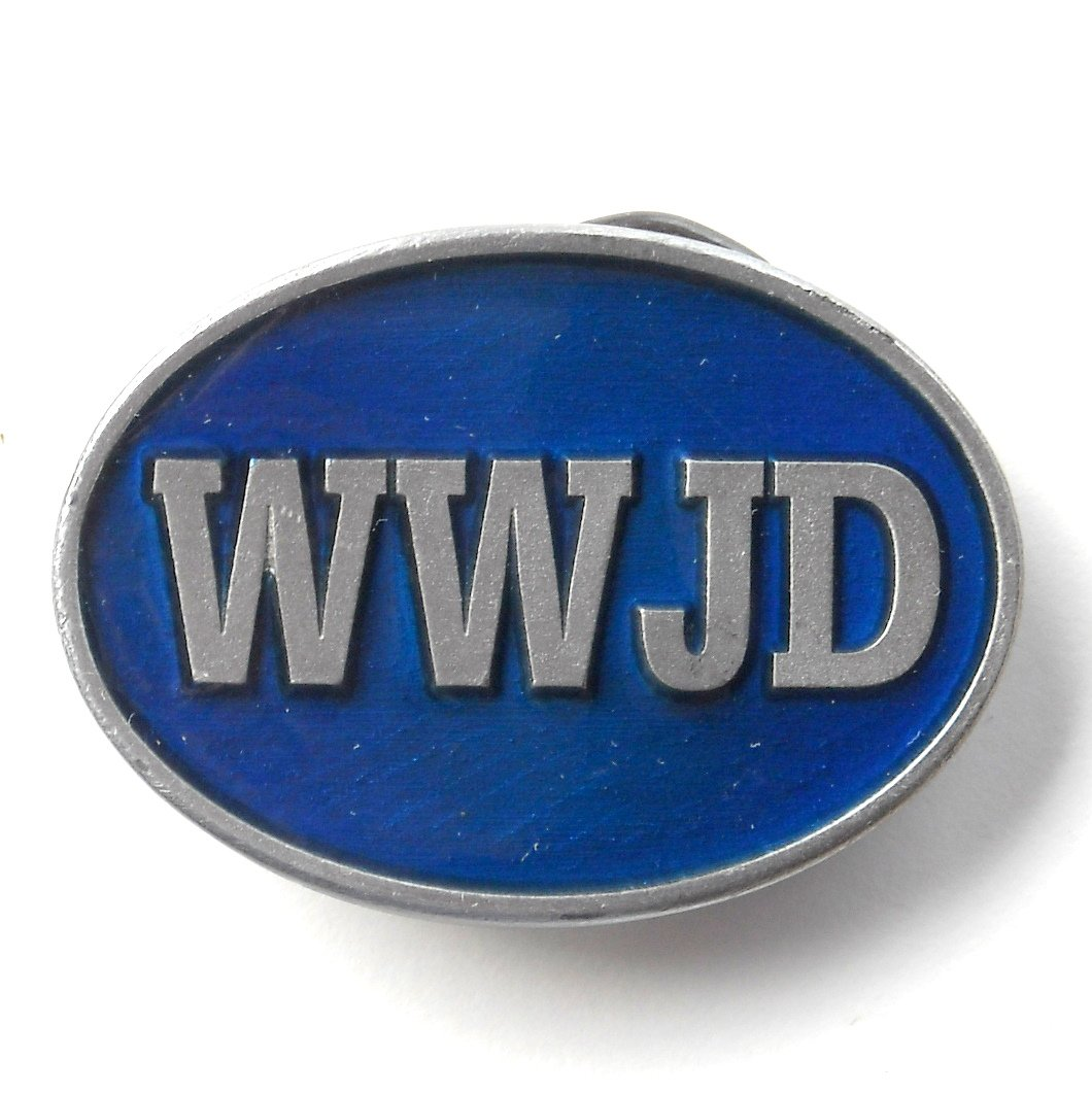 WWJD What Would Jesus Do mens Pewter color belt buckle