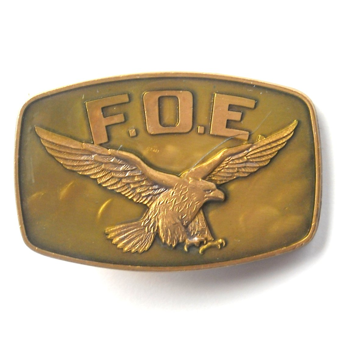 F.O.E. Fraternal Order Of Eagles Mens Brass Color Belt Buckle