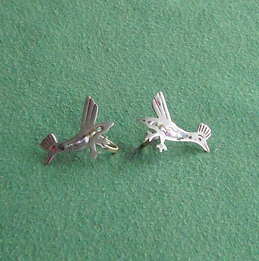Vintage sterling silver Roadrunner earrings with turquoise