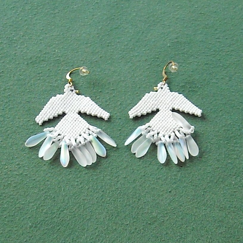 Vintage beaded white dove pierced earrings