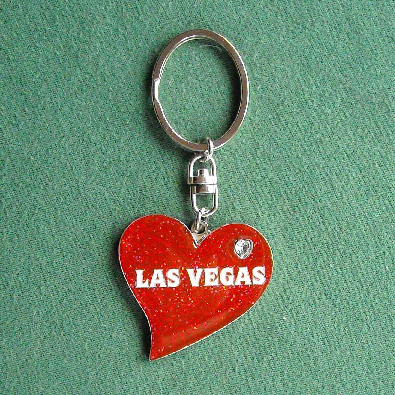 Love Las Vegas heart enamel key ring chain
