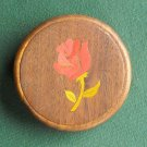 Handmade teak wood rose belt buckle