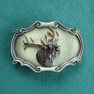 Vintage Paintree elk 3D belt buckle 1978