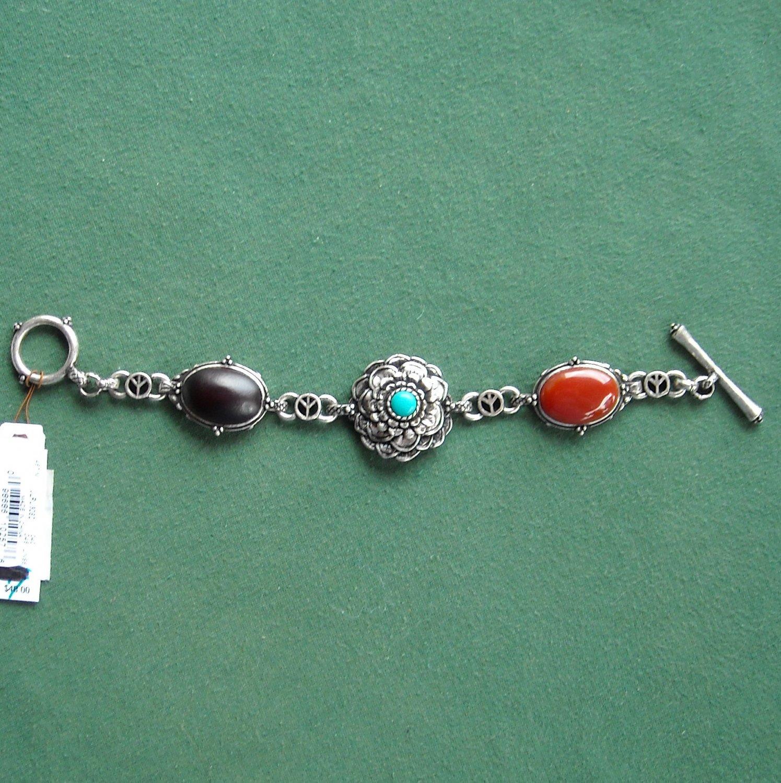 Lucky Brand Silver Tone Semi Precious Stone Peace Bracelet NWT