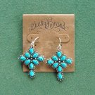 Lucky Brand Silver tone turquoise stone cross earrings NWT