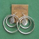 Lucky Brand silver tone double hoop earrings NWT