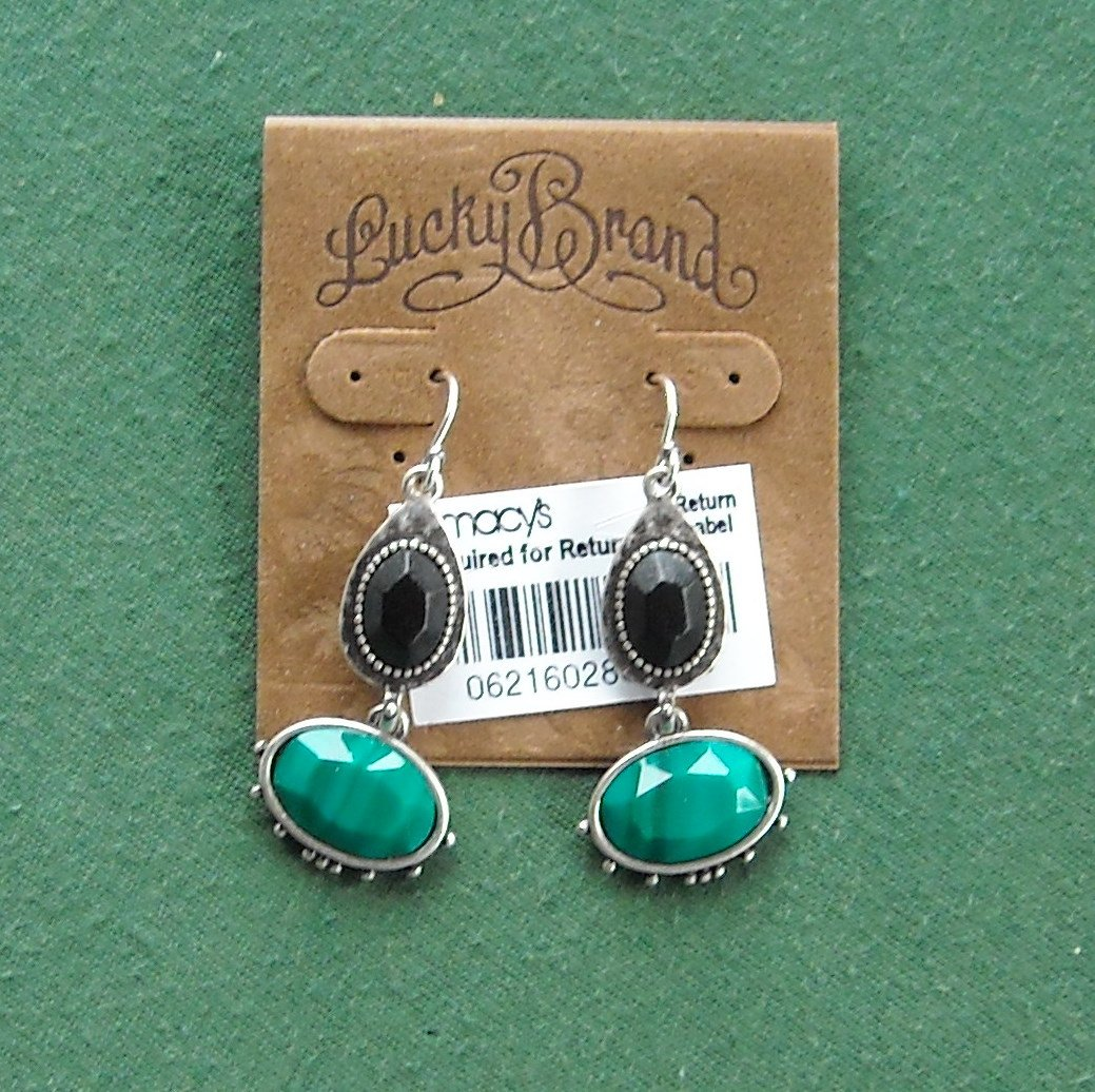 Lucky Brand Silver tone black and green stone earrings NWT