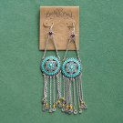 Lucky Brand Antique Gold tone enamel turquoise dangle earrings NWT