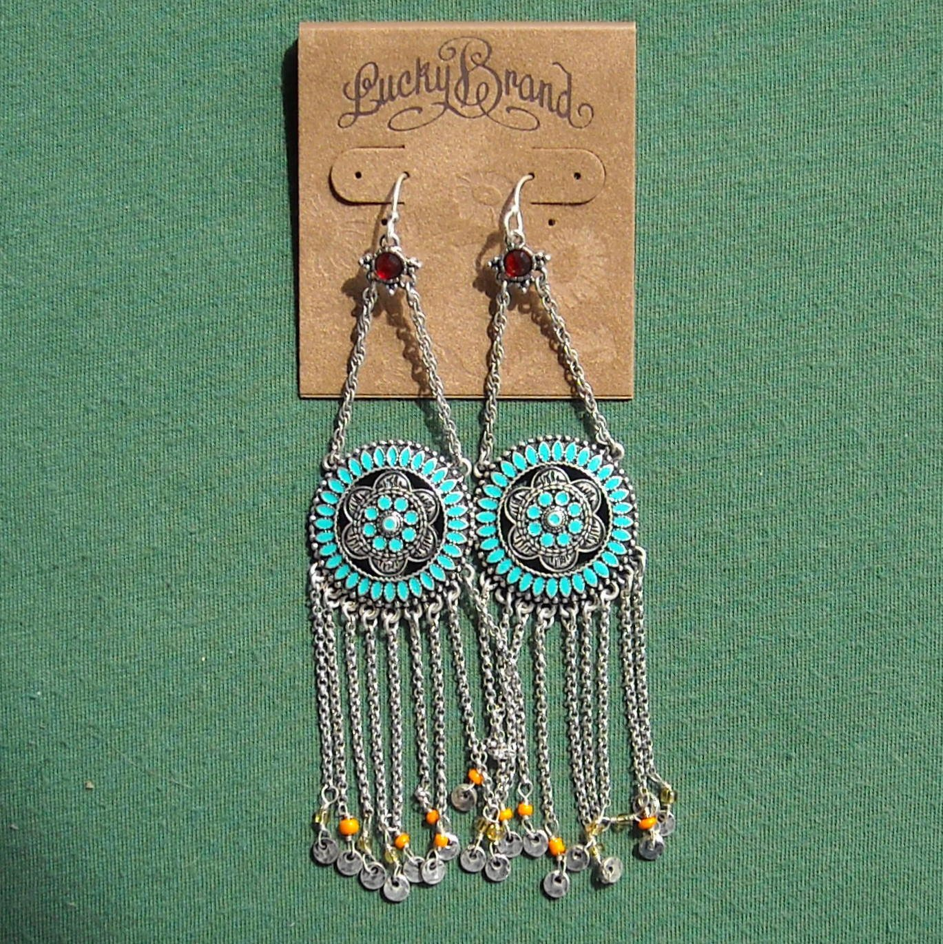 Lucky Brand Antique Gold tone red semi precious stone and turquoise enamel dangle earrings NWT