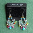 Catherines silver color rhinestone beaded pierced earrings