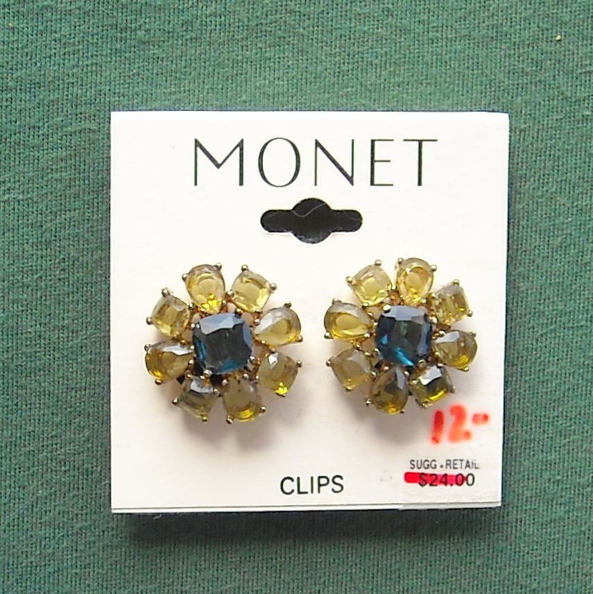 Monet rhinestone gold tone earrings clips