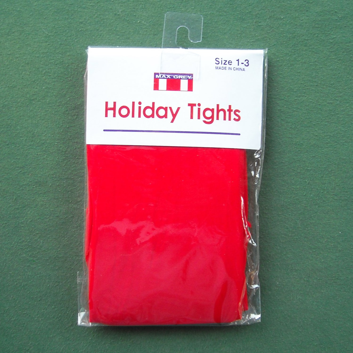 Max Grey Holiday red tights stocking girl size 1 - 3 NWT