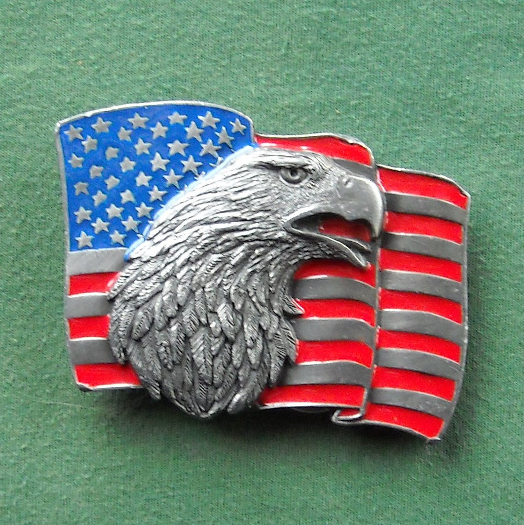 American Eagle And Flag Siskiyou Belt Buckle
