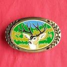 Heritage solid brass 5 point deer belt buckle