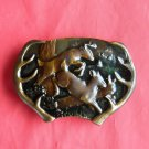 Vintage deer and antler Bergamot brass belt buckle 1977