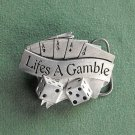 Lifes A Gamble 3D Sculpted Solid Belt Buckle