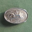 Western Rodeo Cowboy silver colored belt buckle