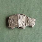 Vintage Indiana Metal Craft fire truck pewter belt buckle