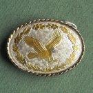 Vintage womens eagle silver and gold color belt buckle