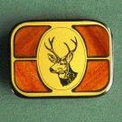 Vintage Harmony Metal solid brass wood deer belt buckle