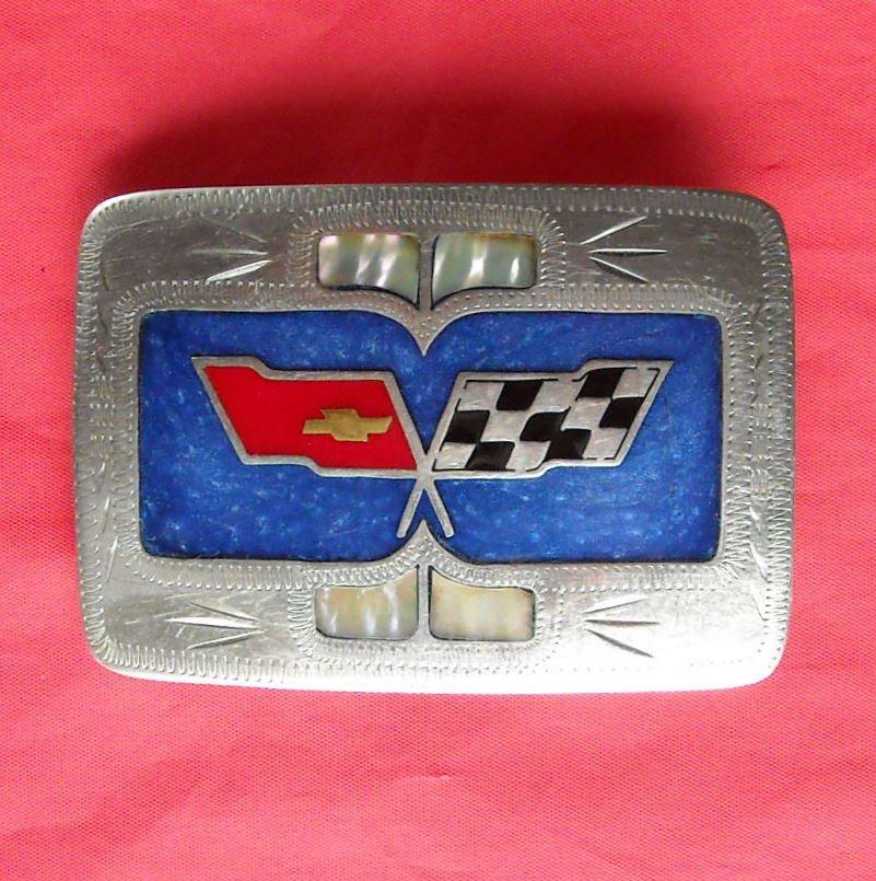 Vintage Chevy Chevrolet silver color belt buckle