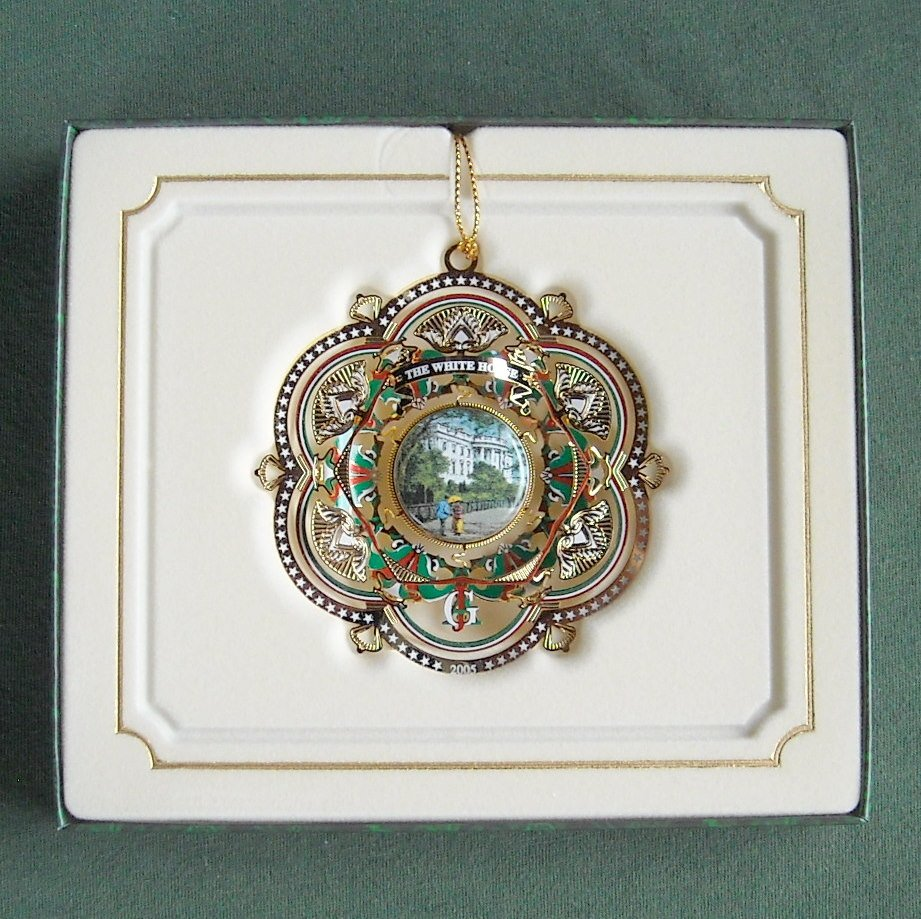 The White House Christmas Historical Association 24k gold plated ornament 2005