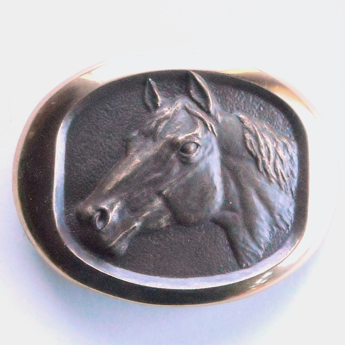 Horse Head Vintage Steven L Knight 3D Solid Bronze Belt Buckle