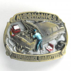Mechanics Performance Guaranteed 1990 belt buckle