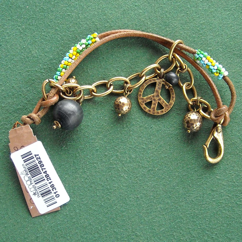 Lucky Brand Gold Tone Beaded Leather Peace Love Charm Bracelet NWT