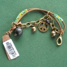 Lucky Brand Gold Tone Beaded Leather Peace Love Charm Bracelet NWT