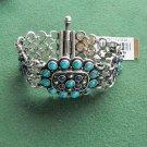Lucky Brand Silver Tone Semi Precious Stone Charm Bracelet NWT