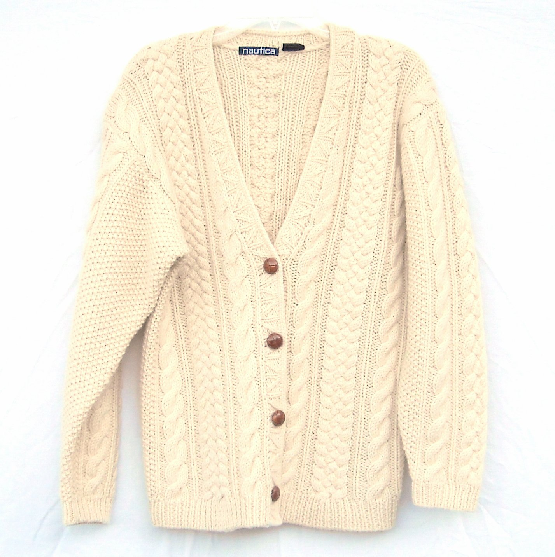 Nautica Knit Misses Womens 100% Wool Sweater Cardigan Size S